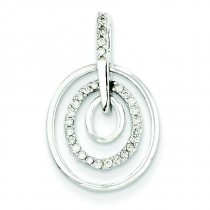 Triple Circle Diamond Pendant in 14k White Gold