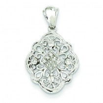 Diamond Vintage Pendant in 14k White Gold