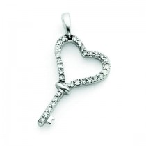 Diamond Heart Key Pendant in 14k White Gold