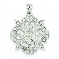 Filigree Diamond Pendant in 14k White Gold