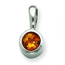 Citrine Pendant in 14k White Gold