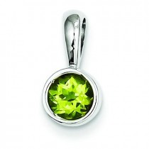 Peridot Pendant in 14k White Gold