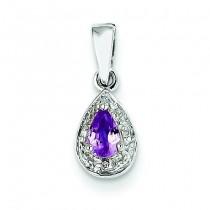 Diamond Pink Sapphire Pendant in 14k Yellow Gold