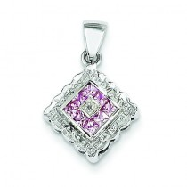 Diamond Pink Sapphire Pendant in 14k White Gold