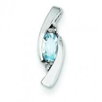 Diamond Aquamarine Pendant in 14k White Gold