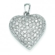 Fancy Diamond Heart in 14k White Gold