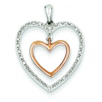 Double Heart Diamond Pendant in 14k Yellow Gold