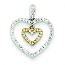 Diamond Heart in A Heart Pendant in 14k Yellow Gold