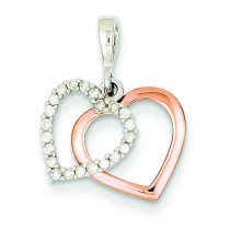 Rose Diamond Heart Pendant in 14k White Gold