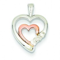 Diamond Heart Pendant in 14k Two-tone Gold