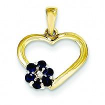Diamond Sapphire Heart Pendant in 14k Yellow Gold