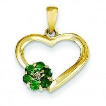 Diamond Emerald Heart Pendant in 14k Yellow Gold