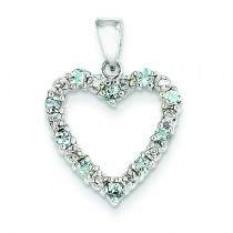 Diamond Aquamarine Heart Pendant in 14k Yellow Gold