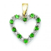 Diamond Emerald Heart Pendant in 14k Yellow Gold