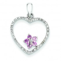 Diamond Pink Sapphire Heart Pendant in 14k Yellow Gold
