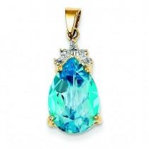 Blue Topaz Diamond Pendant in 14k Yellow Gold