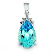 Blue Topaz Diamond Pendant in 14k White Gold
