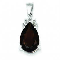 Smokey Quartz Diamond Pendant in 14k White Gold