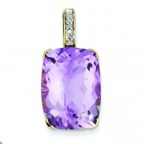 Amethyst Diamond Pendant in 14k Yellow Gold