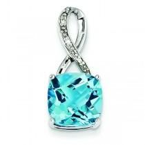 Blue Topaz Diamond Pendant in 14k White Gold
