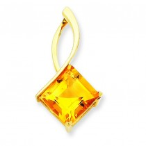 Citrine Pendant in 14k Yellow Gold