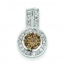 Champagne White Diamond Pendant in 14k Yellow Gold