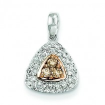 Champagne White Diamond Pendant in 14k White Gold