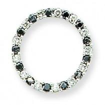 Black White Diamond Pendant Chain in 14k White Gold