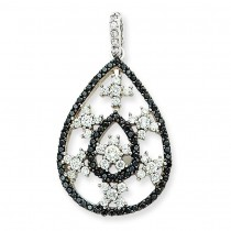 Black White Diamond Pendant in 14k White Gold