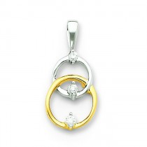Diamond Circle Pendant in 14k Two-tone Gold