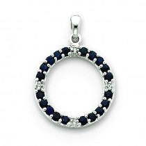 Sapphire Diamond Circle Pendant in 14k White Gold