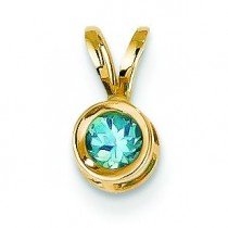 Blue Topaz Bezel Pendant in 14k Yellow Gold