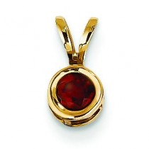 Garnet Bezel Pendant in 14k Yellow Gold
