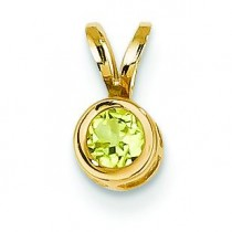 Peridot Bezel Pendant in 14k Yellow Gold