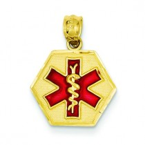 Red Medic Id Pendant in 14k Yellow Gold