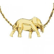Elephant Pendant Slide in 14k Yellow Gold