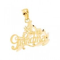 Number 1 Grandma Pendant in 14k Yellow Gold