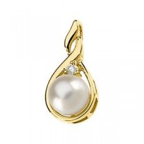 Pearl Diamond Pendant in 14k Yellow Gold