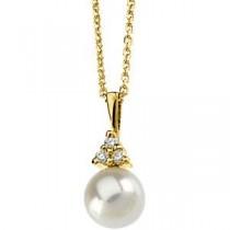 Pearl Pendant On Cable Chain in 14k Yellow Gold