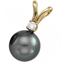 Black Pearl Diamond Pendant in 14k Yellow Gold