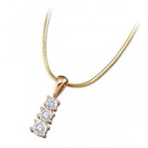 Diamond Three Stone Pendant Chain in 14k Yellow Gold (0.75 Ct. tw.) (0.75 Ct. tw.)