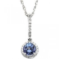 Tanzanite Diamond Pendant in 14k White Gold