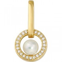 Akoya Pearl Diamond Pendant in 14k Yellow Gold