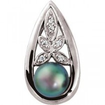 Black Pearl Diamond Pendant in 14k White Gold
