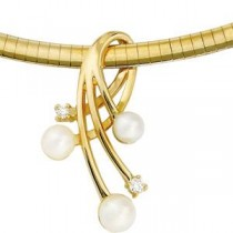 Pearl Diamond Pendant in 14k Yellow Gold (0.1 Ct. tw.) (0.1 Ct. tw.)
