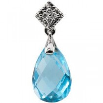 Topaz Diamond Pendant in 14k White Gold