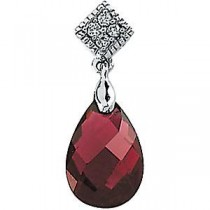 Garnet Diamond Pendant in 14k White Gold