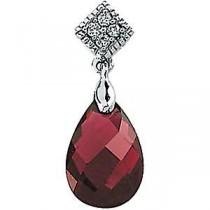 Garnet Diamond Pendant in 14k White Gold