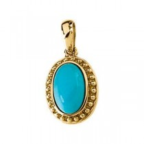 Turquoise Pendant in 14k Yellow Gold