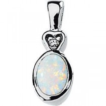 Opal Diamond Pendant in 14k White Gold